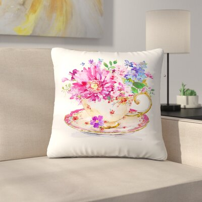 Cup Floral Throw Pillow Size: 14 x 14