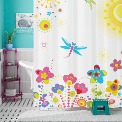 Anita Country Summer Floral Backdrop With Sun Rays and Colorful Dandelions Happiness Graphic Shower Curtain Size: 69 W x 75 H