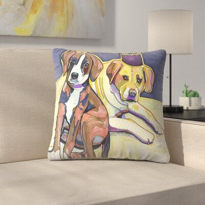 Two Dogs Throw Pillow Size: 18 x 18