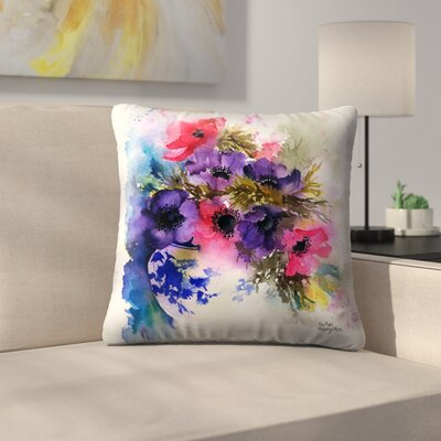 Anemones in Blue And White Vase Throw Pillow Size: 16 x 16