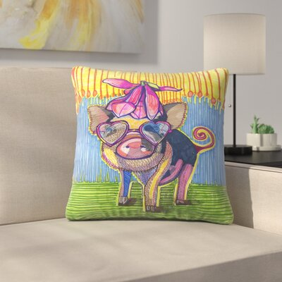 Pig with Magnolia Flower Throw Pillow Size: 14 x 14