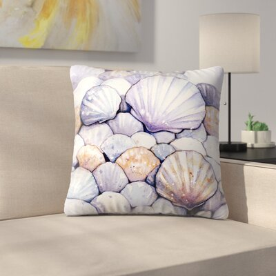 Scallop Shells Amethyst Throw Pillow Size: 18 x 18