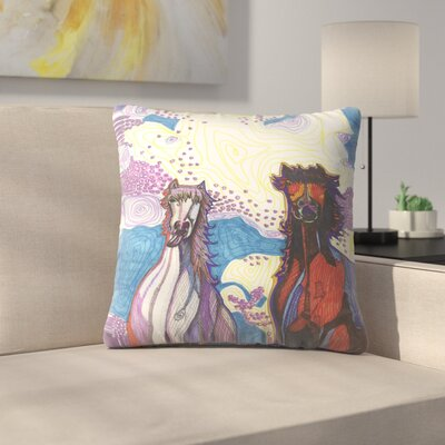 2 Horses First Date Throw Pillow Size: 14 x 14
