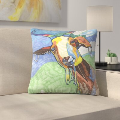 Goat With Earings Dirks Throw Pillow Size: 14 x 14