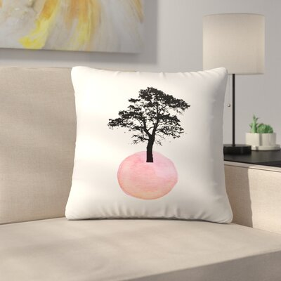 Pink Tree Throw Pillow Size: 14 x 14