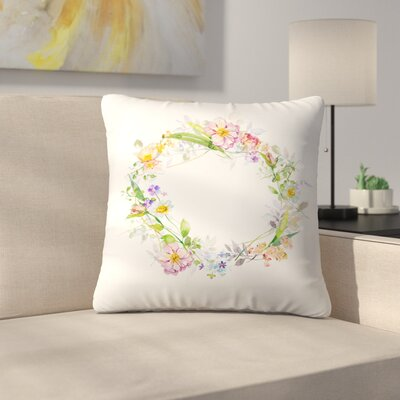 Floral Wreath Throw Pillow Size: 18 x 18