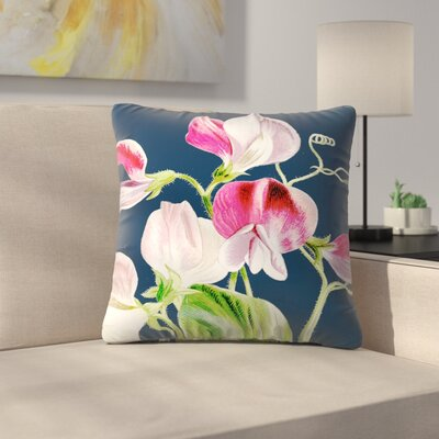 Navy Pink Flowers Throw Pillow Size: 14 x 14