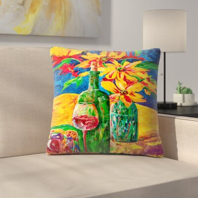 Sunshine Taylor Wine and Flowers Indoor/Outdoor Throw Pillow Size: 16 x 16
