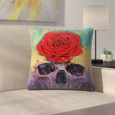 Skull with Red Rose Throw Pillow Size: 14 x 14