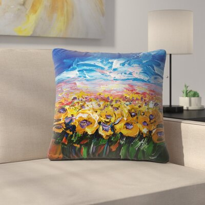 Olena Art Sunflower Field Throw Pillow Size: 18 x 18