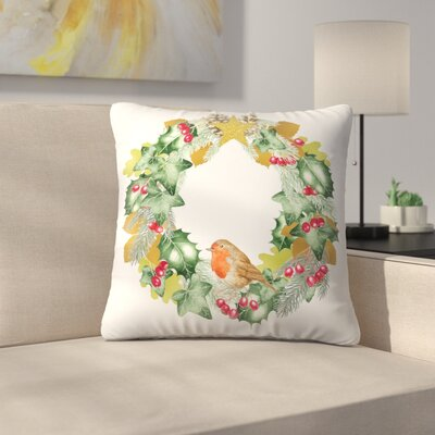 Christmas and Metallic Leaf Wreath Throw Pillow Size: 18 x 18