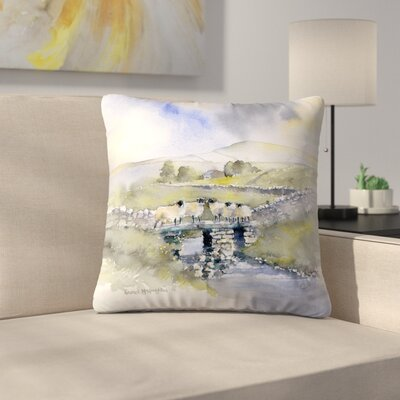 Sheep on a Bridge Throw Pillow Size: 14 x 14