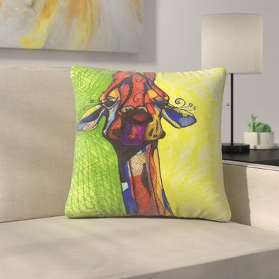 Giraffe Yellow Throw Pillow Size: 16 x 16