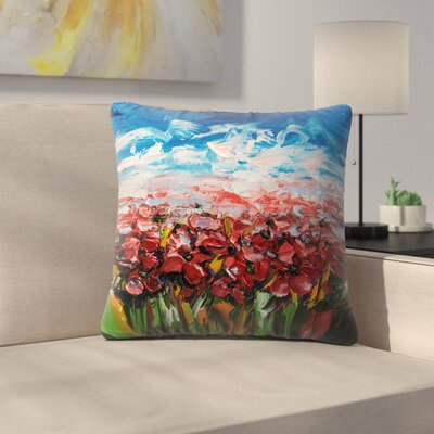 Olena Art Poppy Field Throw Pillow Size: 20 x 20
