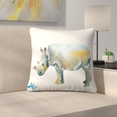 Rhinoceros Throw Pillow Size: 18 x 18