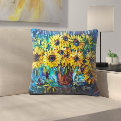 Olena Art Sunflowers Throw Pillow Size: 18 x 18