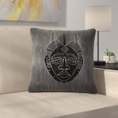 African Mask Black Throw Pillow Size: 18 x 18, Color: Black