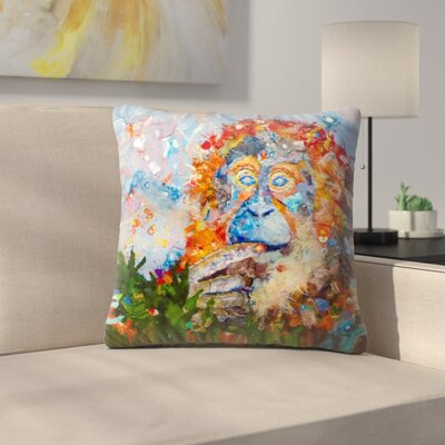Sunshine Taylor Orangutan Indoor/Outdoor Throw Pillow Size: 14 x 14