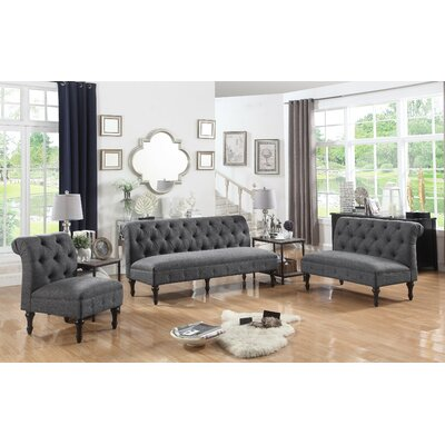 Selina 3 Piece Living Room Set Upholstery: Smoky Gray