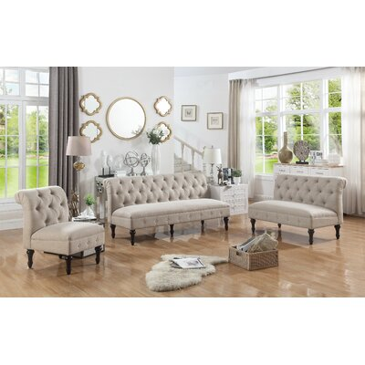 Selina 3 Piece Living Room Set Upholstery: Warm Beige