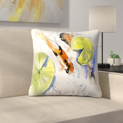 Koi Fish Throw Pillow Size: 18 x 18