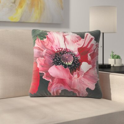 Oriental Poppy Elizabeth Hellman Throw Pillow Size: 18 x 18