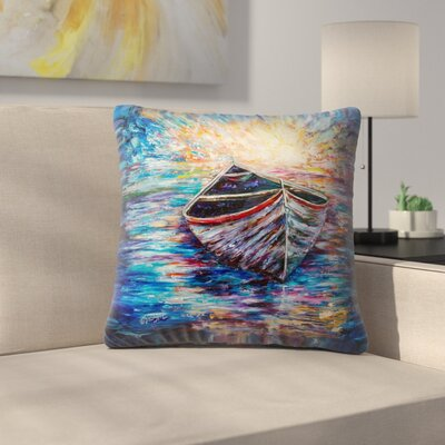 Olena Art Wooden Boat at Sunrise Throw Pillow Size: 16 x 16