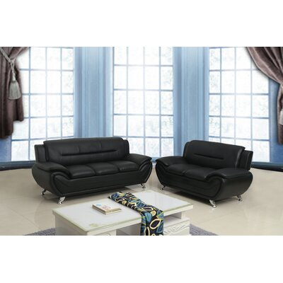 Segura 2 Piece Living Room Set Upholstery : Black