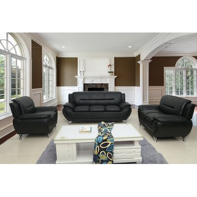 Segura 3 Piece Living Room Set Upholstery : Black