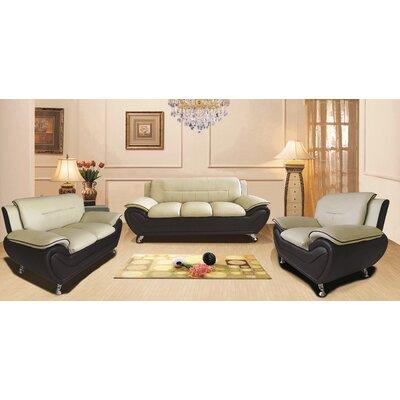 Segura 3 Piece Living Room Set Upholstery : Camel/Black