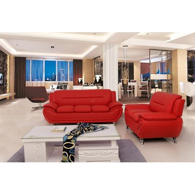 Segura 2 Piece Living Room Set Upholstery : Red