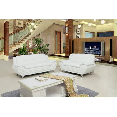 Segura 2 Piece Living Room Set Upholstery : Cream White