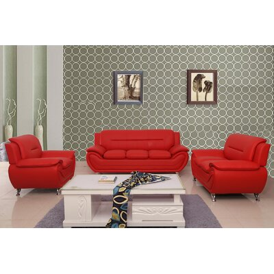 Segura 3 Piece Living Room Set Upholstery : Red