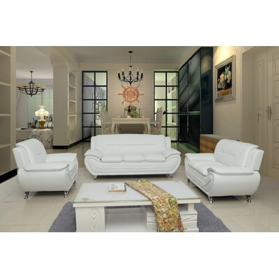 Segura 3 Piece Living Room Set Upholstery : Cream White