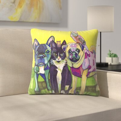 Four Animals Throw Pillow Size: 18