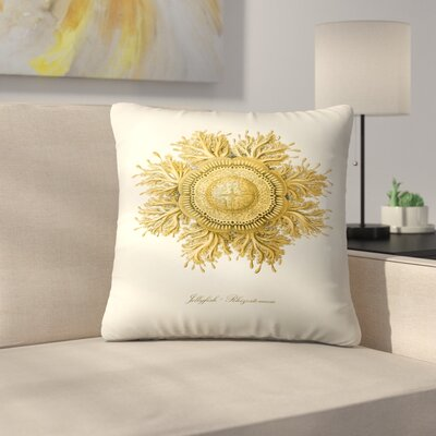 Gold Jelly Fish Throw Pillow Size: 18 x 18