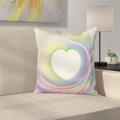 Abstract Art Heart Square Pillow Cover Size: 16 x 16