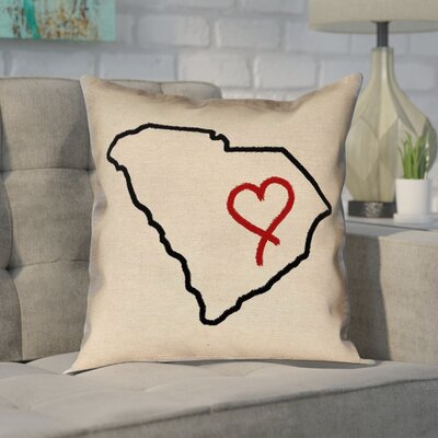 Chaput South Carolina Love Outline Pillow