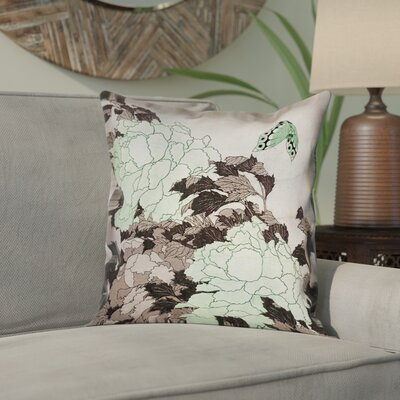 Clair Peonies with Butterfly Square Linen Pillow Cover Color: Green, Size: 16 x 16