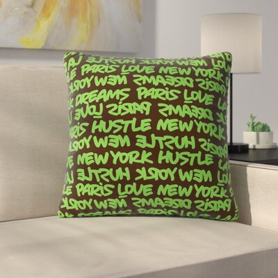Lux Writing Throw Pillow Size: 20 H x 20 W x 7 D, Color: Green / Brown