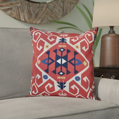 Meetinghouse Jodhpur Medallion Geometric Outdoor Throw Pillow Size: 18 H x 18 W, Color: Coral