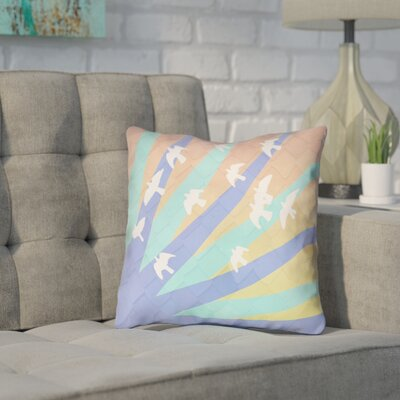 Enciso Birds and Sun Double Sided Print Throw Pillow Color: Blue/Orange, Size: 18 x 18