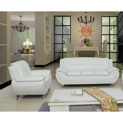 Segura 2 Piece Living Room Set Upholstery : Cream White