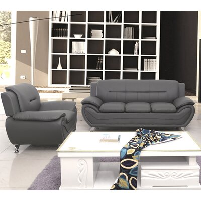 Segura 2 Piece Living Room Set Upholstery : Grey