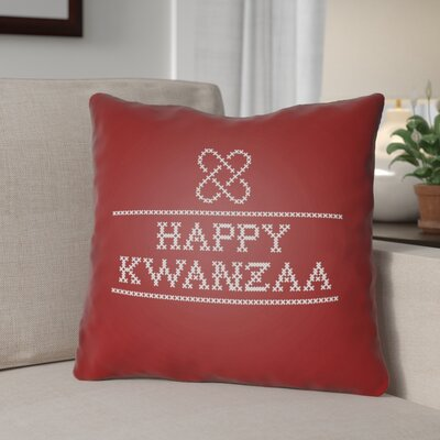 Happy Kwanzaa Indoor/Outdoor Throw Pillow Size: 18 H x 18 W x 4 D, Color: Red