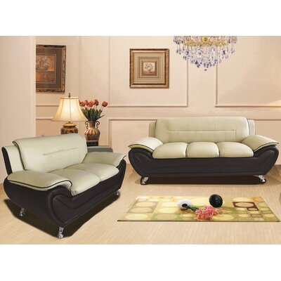 Segura 2 Piece Living Room Set Upholstery : Camel/Black