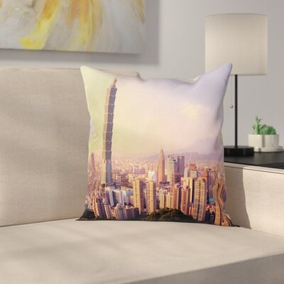 Cityscape from the Sky Pillow Cover Size: 18 x 18