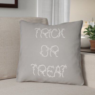 Boo Indoor/outdoor Throw Pillow Size: 20 H x 20 W x 4 D, Color: Gray / Ivory