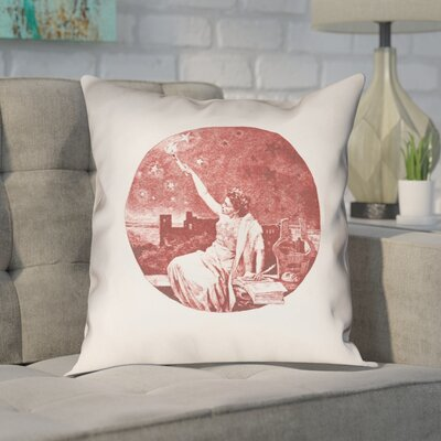 Enciso Blue Vintage Goddess Throwr Pillow Size: 18 x 18, Color: Red