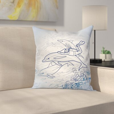 Ocean Life Sketch Scuba Diver Square Pillow Cover Size: 16 x 16